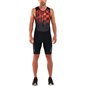 2XU Perform Trisuit met Voorrits Heren, black/flame ombre